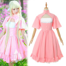 Chobits Chi Cosplay Costume Pink Dress Outfit Lolita Girl's Skirt Customized
