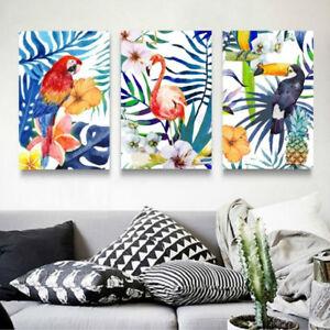 3 Piece Canvas Prints Set - Flamingo Parrot Toucan Watercolor Art - Unframed