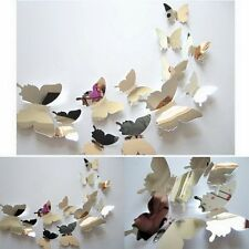 12Pcs DIY 3D Butterfly Wall Stickers Accs Home Bedroom Mirrored Art Decal Decor