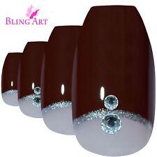 False Nails Red Crystal Polished Ballerina Coffin Bling Art Fake Tips 2g Glue
