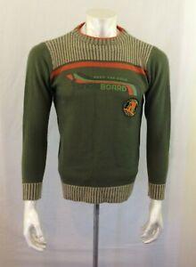 Bum Equipment Vintage Snowboard Acrylic Boys Green Long Sleeve Knit Sweater Sz L