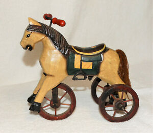 """Miniature Decorative Painted Wooden Horse on 3 Wheels-Rolls great - 7 3/8"""" tall"""