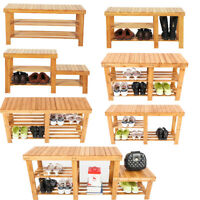 Natural Bamboo Wood Shoe Rack Bench 3-Tier Shoes Organizer Entryway Seat Storage