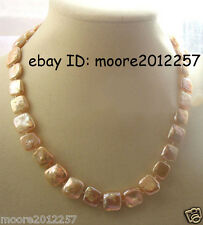 """Fashion 11-12mm freshwater coin square pink pearls necklace 18"""""""
