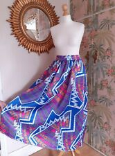 Dramatic 80s Style African Pattern Print Maxi Skirt Summer Size Small Pink Blue