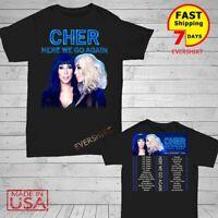 Cher t Shirt Here We Go Again Tour Dates 2020 T-Shirt Size Men Black M-2XL