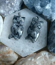 Black moonstone Larvikite necklace owl pendant