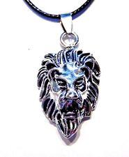 SILVER LION FACE NECKLACE black cord metal pendant Leo zodiac cat unisex A1