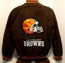 Cleveland Browns NFL Men's 100% Leather Jacket.Coat Embroidered Logo SZ MED  VGC