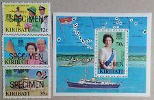 Kiribati QEII 1982 Royal Visit Set Min Sht SG193/5-MS196s Ovptd Specimen Ex Coln