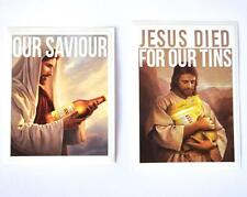 STICKER 2 PACK JESUS DIED FOR OUR TINS & OUR SAVIOUR XXXX GOLD BEER BUMPER