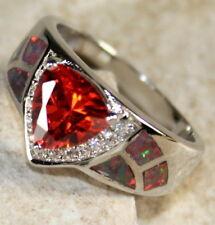 SILVER Elegant Orange Fire Opal & Orange Red Garnet Ring Size 5, WR40702