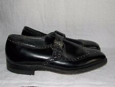 Dupont Corfam Black Leather Wingtop Oxfords BUCKLE For Men 9.5D Used
