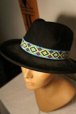 NEW True Vintage Dorfman Sz M Black Wool Beaded Indian Western Vtg Western Hat