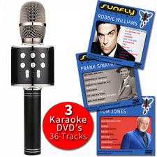 Black Karaoke Microphone Wireless with Built-In Speaker PA Voice Effect Inc DVDs