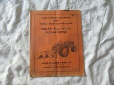 Allis-Chalmers WD-52 pick-up plow operator's instructions manual parts catalog