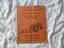 Allis Chalmers Wd 52 Pick Up Plow Operators Instructions Manual Parts Catalog