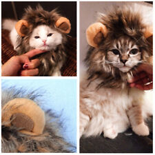 Furry Pet Hat Costume Lion Mane Wig For Cat Halloween Dress Up With Ears UK-ME56