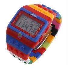 Sport Colorful Block Brick Style Digital LED Women Men Children Wrist Watch Gift