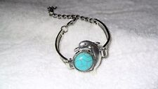 Bohemian Fashion Silver Faux Turquoise Dolphin Adjustable Bracelet Charm Bangle
