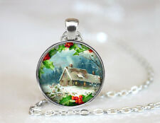Country Christmas Tibetan silver Dome Glass Art Chain Pendant Necklace