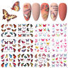 12Pattern/sheet Nail Art Water Decal Maple Leaf Colorful Butterfly Nail Sticker