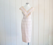 1950s Vintage Sexy Pale Pink Lace Wiggle Pencil Dress by Alix of Miami | Sz L