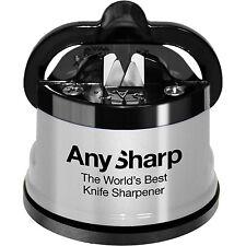 Anysharp Cocina Afilador de Cuchillos con Soporte de superficie de trabajo Powergrip-Plata