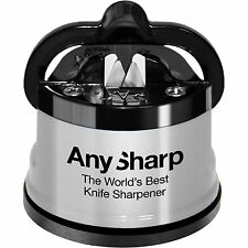 AnySharp Kitchen Knife Sharpener With PowerGrip Work Surface Holder - Silver