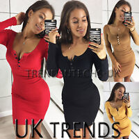 UK Womens V Neck Bodycon Party Buttons Plunge Ladies Mini Christmas Dress