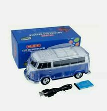 Volkswagen Bus Loud Blue Bluetooth Portable Speaker with LED Light USB/AUX/FM