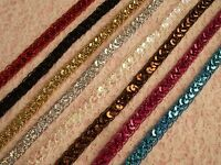 Sequin Metallic Cord Braid Trim, 1/2 In Wide, Assorted Colors, 3 YARDS