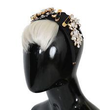 NEW $2600 DOLCE & GABBANA Diadem Headband Black Crystal White Hair Parrucchiera