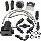 Universal Adjustable Fuel Pressure Regulator Kit 100psi Guage AN6 Fitting Black