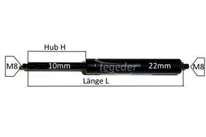 Gasfeder GF10 Länge 210mm-460mm Hub 75mm-200mm Druck wählbar 100-1200N