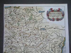 1661 RARE ORIGINAL MAP POLAND HUNGARY TRANSYLVANIA ROMANIA SERBIA CROATIA BOSNIA