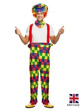Adult CLOWN COSTUME Circus Carnival Womens Mens Outfit Halloween Fancy Dress UK