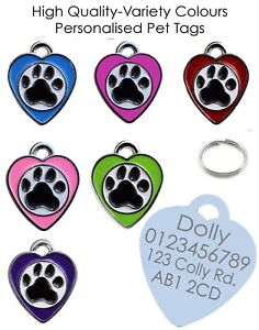 STAINLESS METAL HEART PAW SHAPE ENGRAVED ID NAME PERSONALISED PET DOG TAG TAGS
