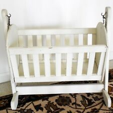 """1950s Vintage Wood Rocking Doll Cradle 22"""" Long - Painted White"""