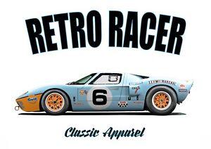FORD GT40 t-shirt. RETRO RACER. CLASSIC CAR. RACE CAR. GT 40. GT-40.