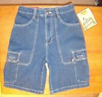 Boys Vintage Nice Route 66 Denim Blue 6 Pockets Cargo Summer Fun Shorts Sz 14