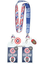 Marvel Civil War Team Lanyard Captain America Iron Man ID Pass Holder Neck Strap