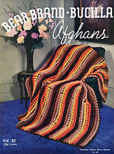 Bear Brand #82 c.1935 Depression Era Crochet Patterns for Afghans in COLOR!