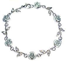 w Swarovski Crystal ~Silver ROSE FLOWER Floral Bridal Wedding Bracelet Xmas Gift