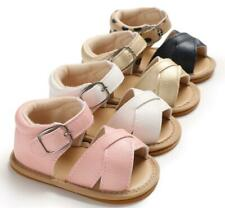 Comfortable Baby Girl Faux Leather Crib Shoes Infant Rubber Soles Summer Sandals
