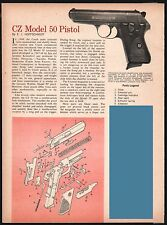 1967 CZ Model 50 Pistol Exploded View Parts List 2-page Assembly Article
