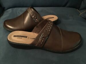 NEW CLARK'S BROWN LEATHER MULE SLIDE ON SIZE 12