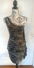 GUESS Black Womens Size Medium M One Shoulder Printed Sheath Dress