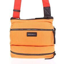 NWT $580 DOLCE & GABBANA Orange Denim Leather Cross Body Messenger Shoulder Bag