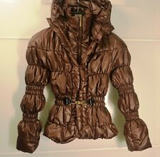 JUST CAVALLI brown down kenzo jacket hood puffer gold moncler belt mrs mcq Italy